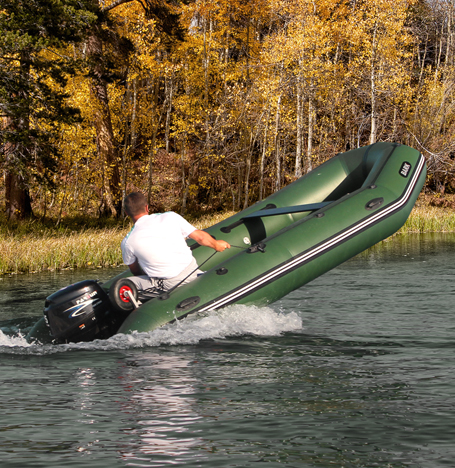 An inflatable boat: friendly and quick as the wind!
